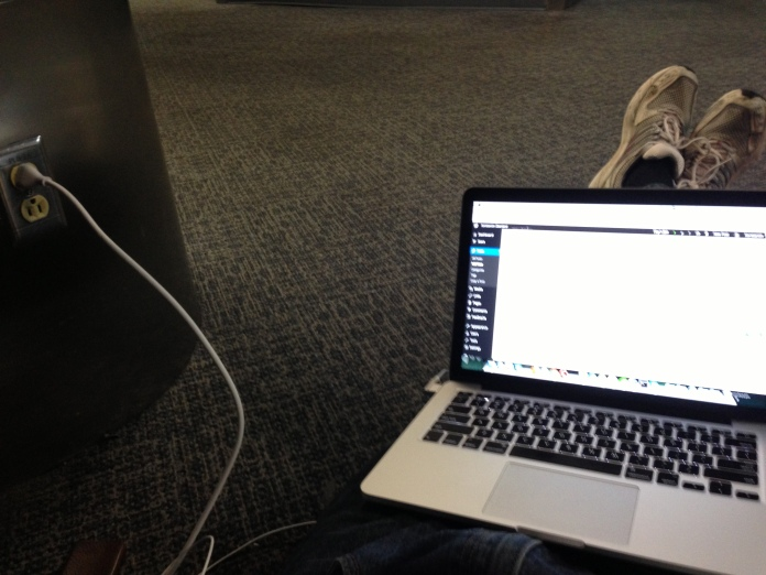 Sitting on the floor at LAX