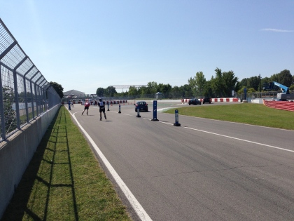 Pit lane and turns 13 and 14, before it goes back to Start/Finish.