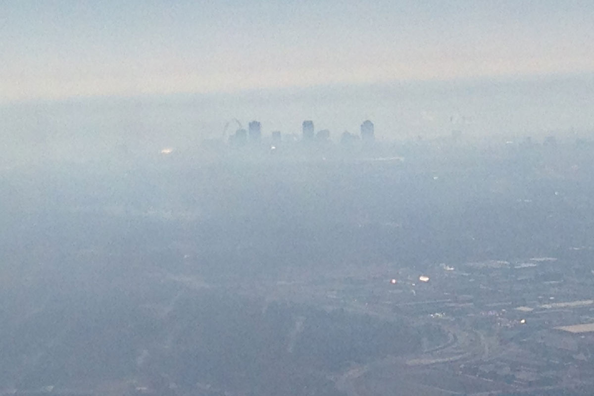The city after takeoff.