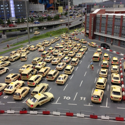 Cabs waiting in line.
