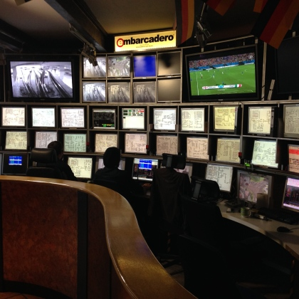 Command-center, with a screen for the World Cup.