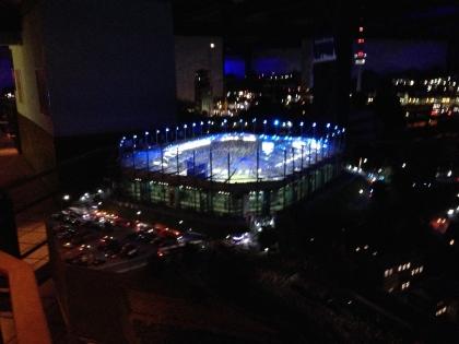 Imtech Arena at night.