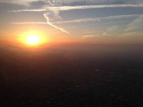 Sunset during another approach to Los Angeles, CA