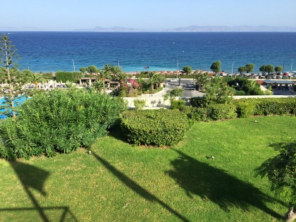 …the entrance area of the hotel. The hills on the horizon is Turkey.