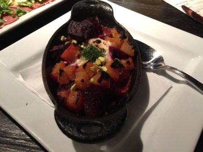 Roasted beets, goat cheese crema, pistachios, dill & olio.