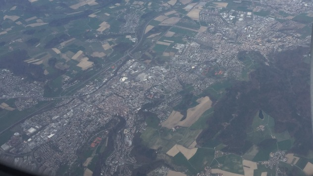 The cities of Ravensburg and Weingarten. It took me a while to recognize them as the inflight map was not accurate.