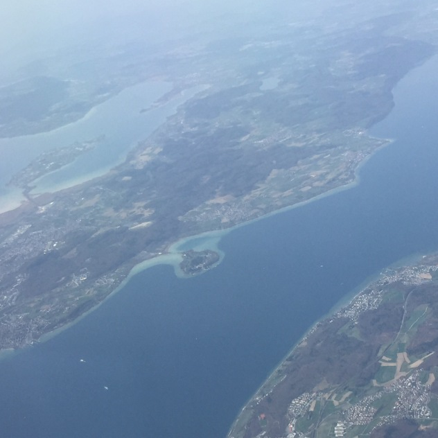 The Bodanrück, the peninsula that gives Lake Constance its characteristic shape. You can see old town Constance to the left, Isle of Reichenau to the top, and Isle of Mainau in the center.
