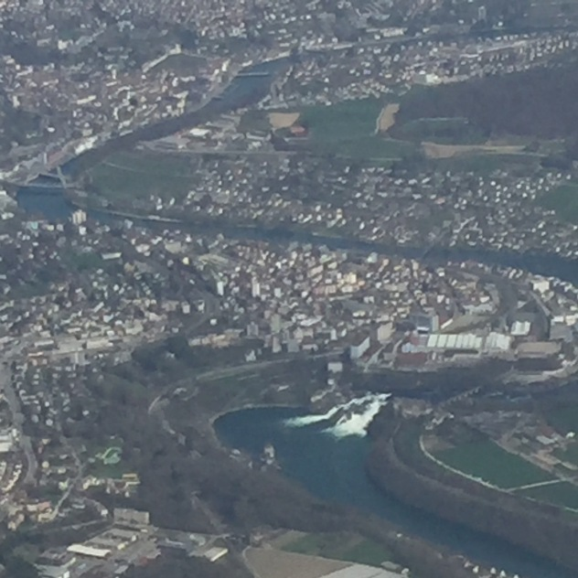 By sheer coincidence I happened to look out the window when we passed the Rhine Falls. I've never been there in person, but it looked so cool from the air that I want to change that soon.