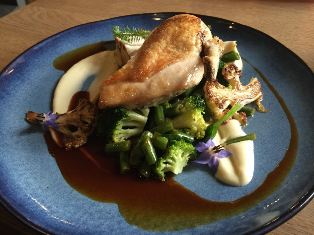Chicken supreme, wild mushroom ragout, cauliflower puree, jus