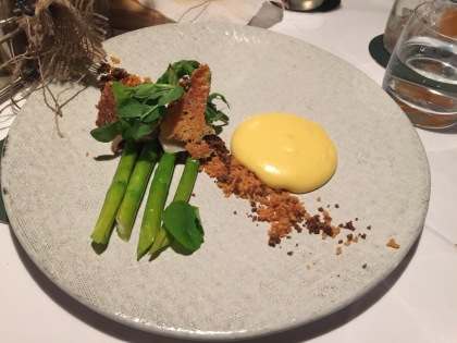 Asparagus; Miso and hazelnut hollandaise, porcini puree, compressed wild mushrooms, and parmesan wafer.