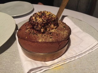 Chocolate Soufflé; Hazelnut and grand marnier parfait.