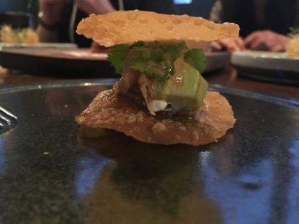 Potluck Club Fish Tacos: Fresh Ceviche, Black Bean Puree, Avocado, and Sour Cream.