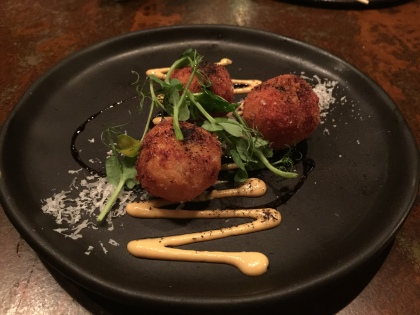 Parmesan and Buffalo Mozzarella Arancini, Smoked Garlic and Apple Mayo, Aged Balsamic, and Burnt Leek