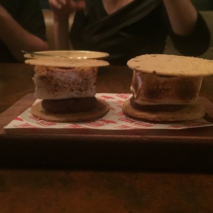 Pot Luck Club S'mores: Roasted Frozen Marshmallow, Peanut Butter Ice Cream , Cacao Nib Biscuit