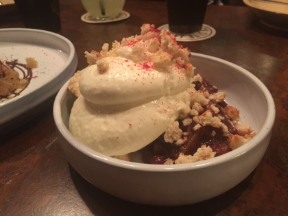Rhubarb Crumble, Ricotta Custard, Buttermilk Rusk, and Toasted Oat Ice Cream