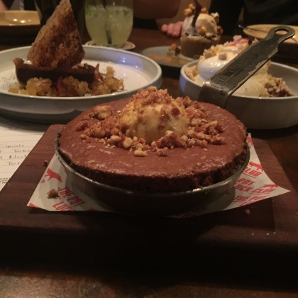Malted Chocolate Fondant Souffle with Peacan Nut Brittle Ice Cream