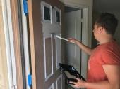 Fabian helped me priming the front door!